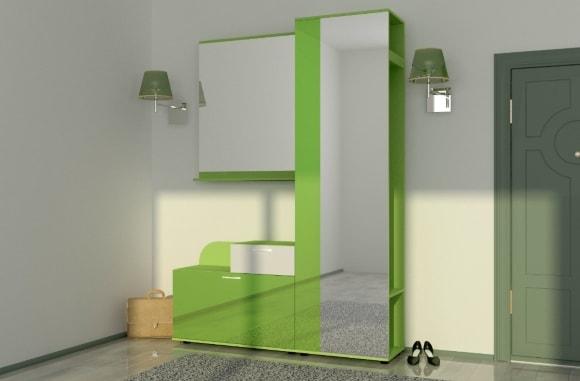 Зеленая прихожая в коридоре