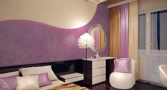 Жидкие обои фиолетового оттенка в интерьере обычной квартиры