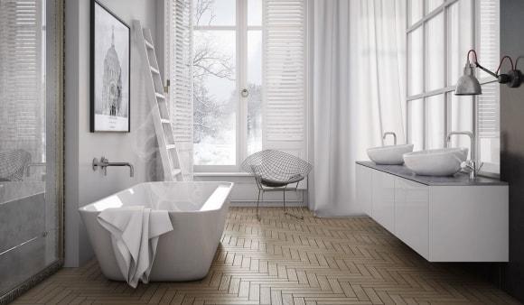 Большая ванная скандинавского стиля