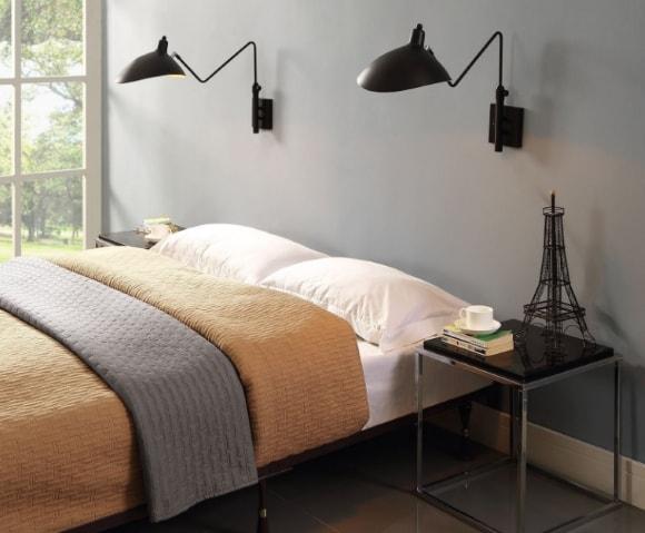 Бра в спальне скандинавского стиля