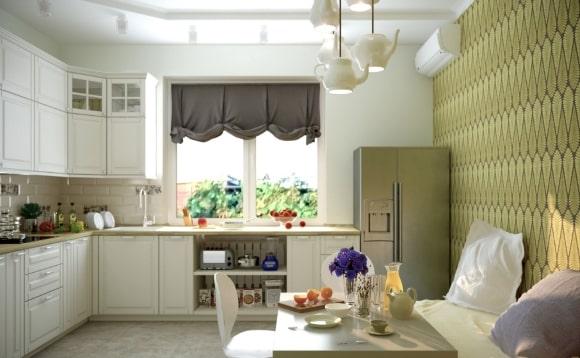 Декорирование кухни скандинавского стиля римскими шторами