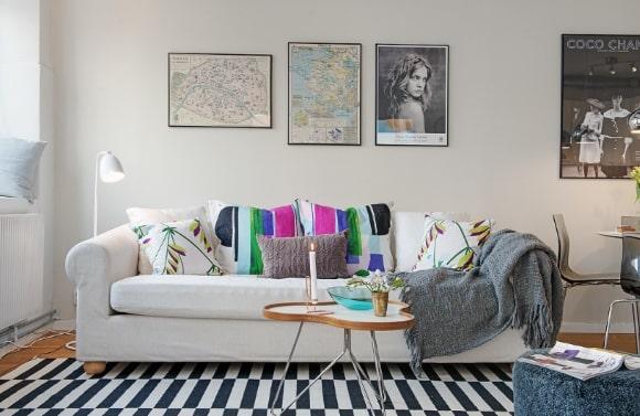 Декорирование скандинавского интерьера подушками