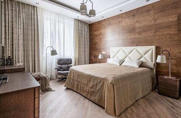Декорирование стен спальни ламинатом