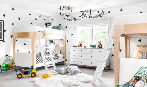 Детская комната для двух детей в скандинавском стиле