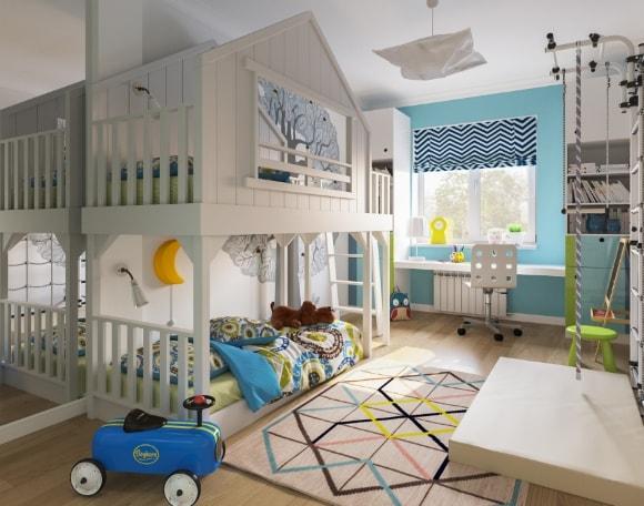 Детская комната для двух мальчиков в скандинавском стиле