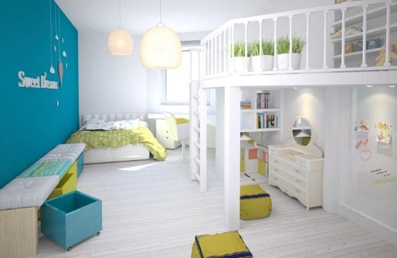 Дизайн интерьера детской скандинавского стиля для двух мальчиков