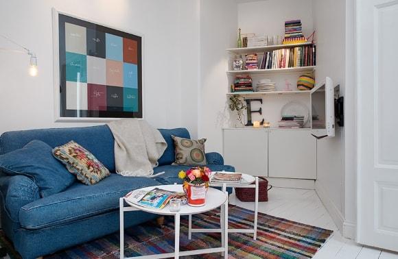 Дизайн интерьера гостиной скандинавского стиля маленького размера