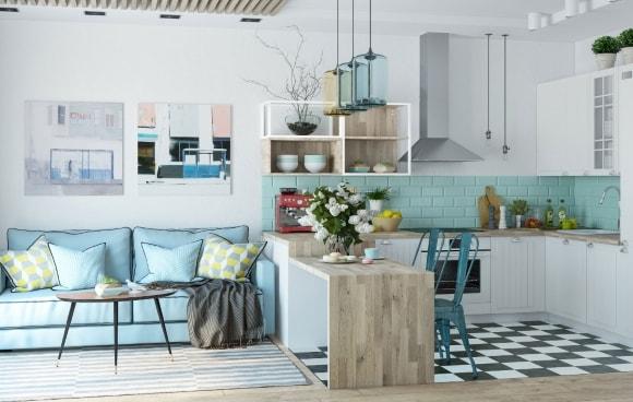 Дизайн интерьера гостиной скандинавского стиля, совмещенной с кухней в квартире