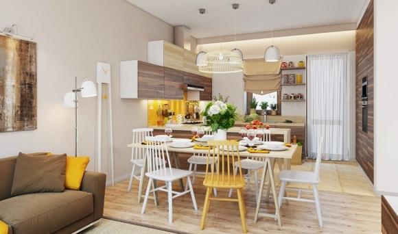 Дизайн интерьера кухни-столовой скандинавского стиля