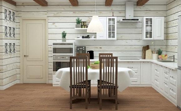 Дизайн интерьера кухни в деревянном доме скандинавского стиля
