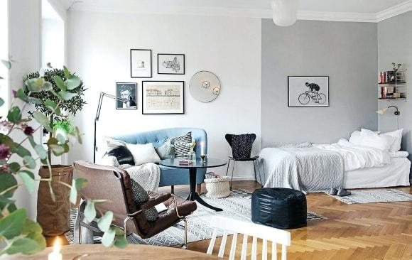 Дизайн интерьера спальни-гостиной скандинавского стиля