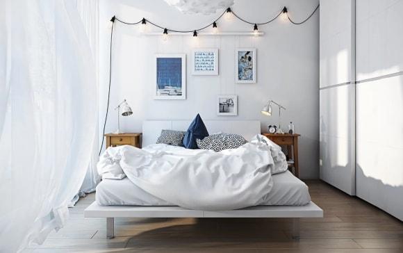 Дизайн интерьера спальни скандинавского стиля маленького размера