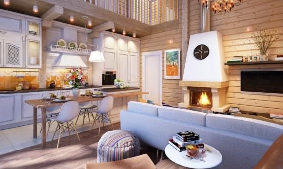 Гостиная в скандинавском стиле совмещенная с кухней в деревянном доме
