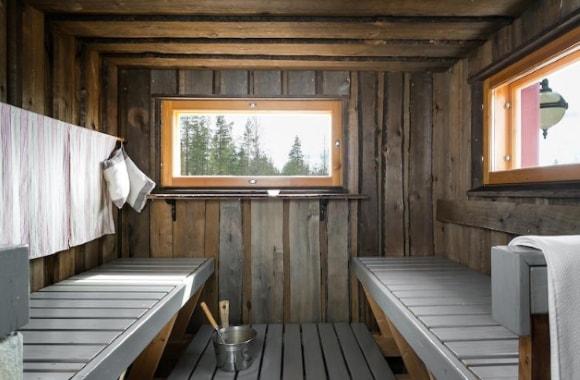 Интерьер бани, выполненный в сканди-стиле