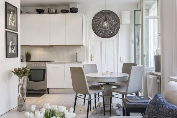 Интерьер скандинавской однокомнатной квартиры