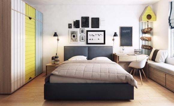 Кровать в сканди-интерьере