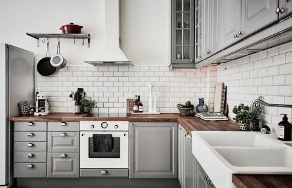 Кухня скандинавского стиля серого цвета