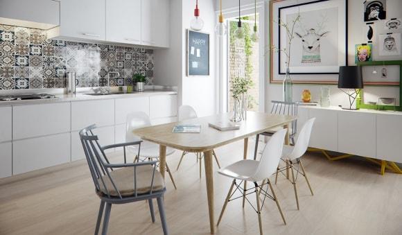 Кухня-столовая скандинавского стиля с большим столом