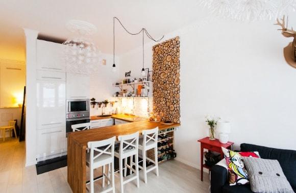 Кухонный гарнитур в скандинавском стиле с барной стойкой