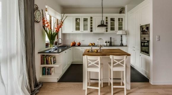 Кухонный гарнитур в скандинавском стиле с островом