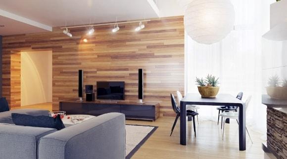 Ламинат на стене в интерьере гостиной