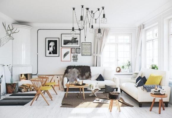 Люстра в интерьере скандинавского стиля