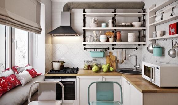 Маленькая кухня в хрущевке скандинавского стиля