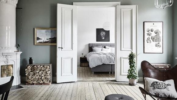 Межкомнатные двойные двери в интерьере скандинавского стиля