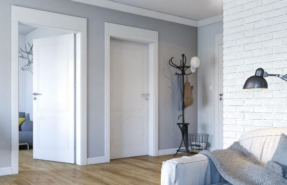 Межкомнатные сплошные двери в интерьере скандинавского стиля