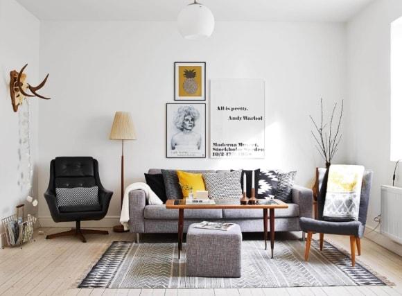 Окрашенные белые стены в интерьере скандинавского стиля