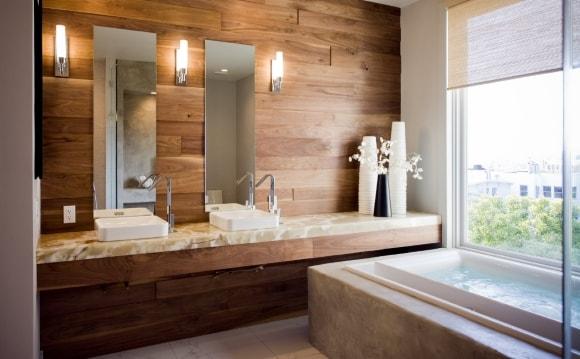Отделка стен ванной ламинатом