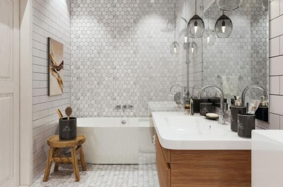 Плитка на полу и стенах в интерьере ванной скандинавского стиля