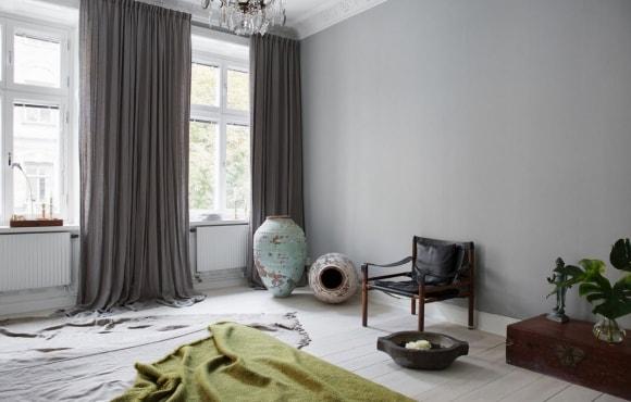 Плотные шторы в интерьере скандинавского стиля