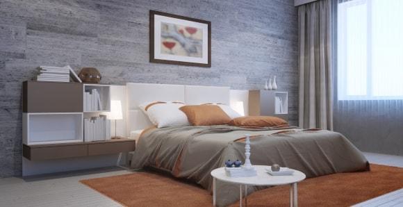 Серый ламинат в интерьере на стене