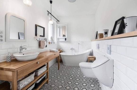 Скандинавская мебель в ванной