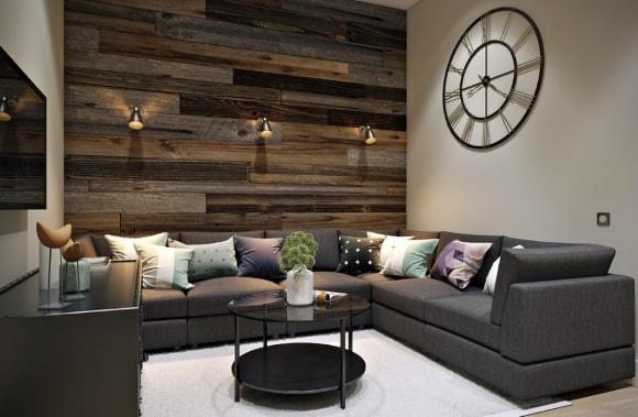 Стена за диваном, отделанная ламинатом