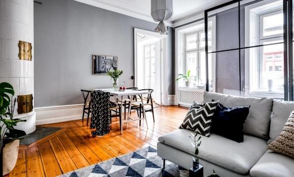 Стены серого цвета в интерьере скандинавского стиля