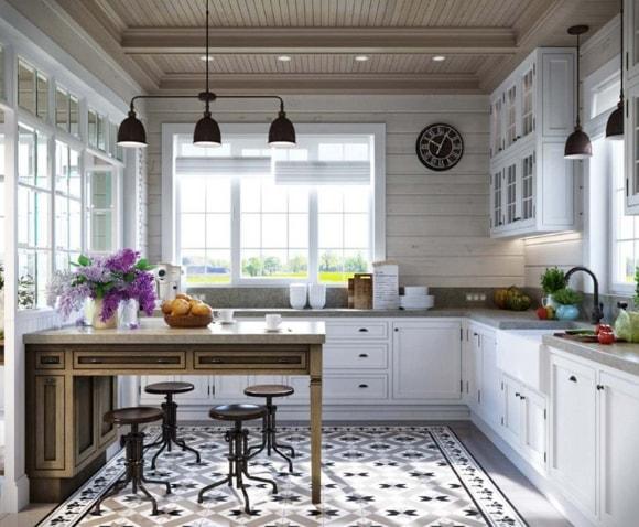 Вагонка в интерьере кухни скандинавского стиля