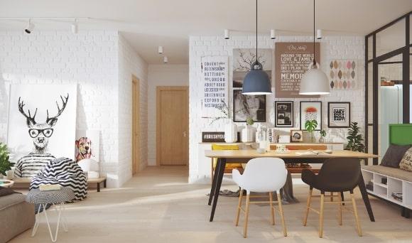 Яркие постеры на кухне скандинавского стиля