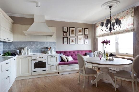 Диван в стиле прованс на кухне