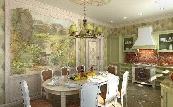 Фреска на кухне в стиле прованс