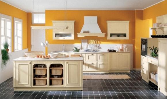 Крашенные стены в стиле прованс на кухне