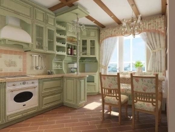 Кухня в стиле прованс 9 кв.м.