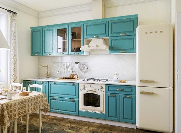 Кухня в стиле прованс бирюзового цвета