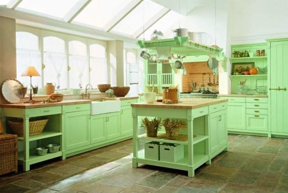 Кухня в стиле прованс фисташкового оттенка