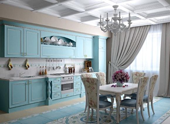 Кухня в стиле прованс голубого цвета
