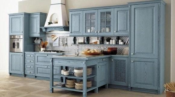 Кухня в стиле прованс голубого оттенка