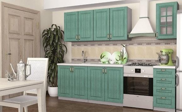 Кухня в стиле прованс изумрудного цвета