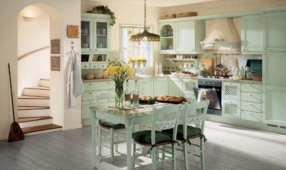 Кухня в стиле прованс мятного оттенка