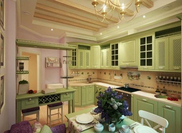 Кухня в стиле прованс оливкового цвета